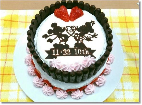 ミッキーミニー時短2段ケーキ